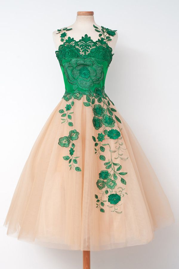 Champagne Homecoming Dresses with Green Embroidery,Short Prom Dresses,Cocktail…