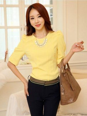 2014 New Arrival Korean Style Pure Color Round Neck Puff Sleeve Chiffon Blouse