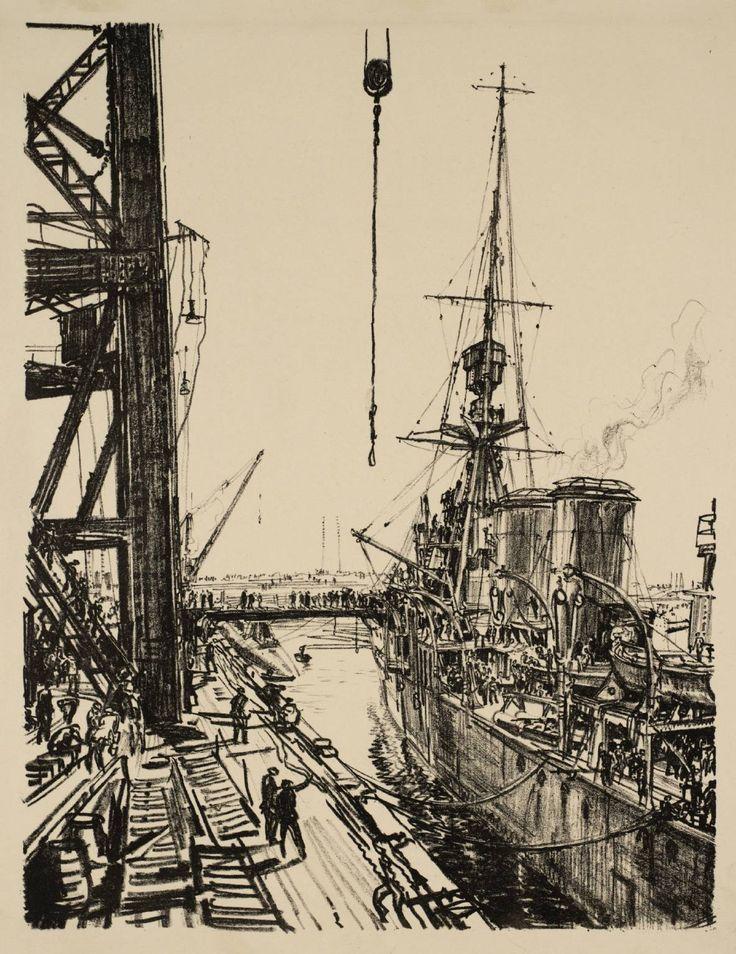 Sir Muirhead Bone - Building Ships: Ready for Sea, 1917