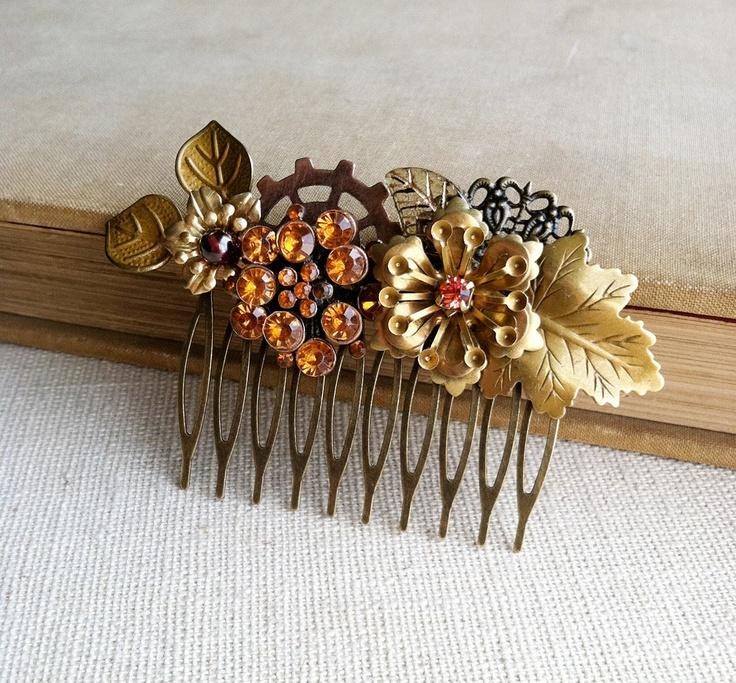 Steampunk bridal autumn harvest Garden Hair Comb - vintage Victorian Edwardian wedding copper brass maple leaf garnet fall wedding gear. $79.00, via Etsy.