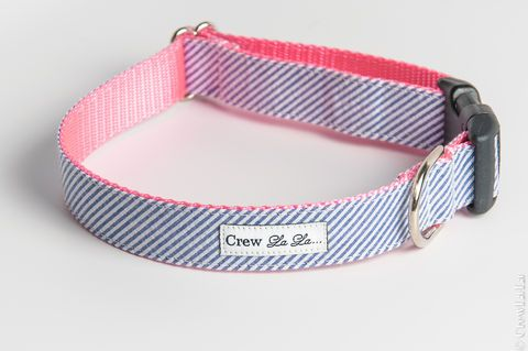 Blue,Seersucker,on,Pink,Dog,Collar,Pets, Collar, dog, large dog, small dog, pets, boy, girl, preppy, crewlala, crew lala, wedding, wedding c...
