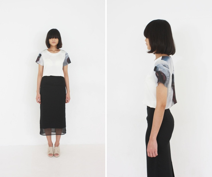 al,thing - Digital print t-shirts / See through long skirt