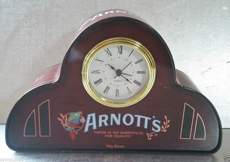 Collectable Arnott's Biscuits Tin - with Quartz Clock White Face Roman Numerals