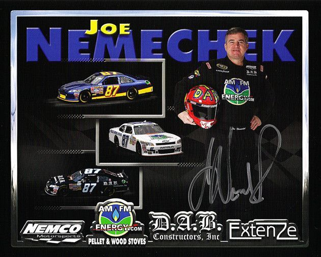 NASCAR Racing Star Joe Nemechek Autograph Hand Signed Photo. Comes with Certificate of Authenticity. Nemechek is a NASCAR driver and owner of NEMCO Motorsports. He won the 1992 Busch Series championsh