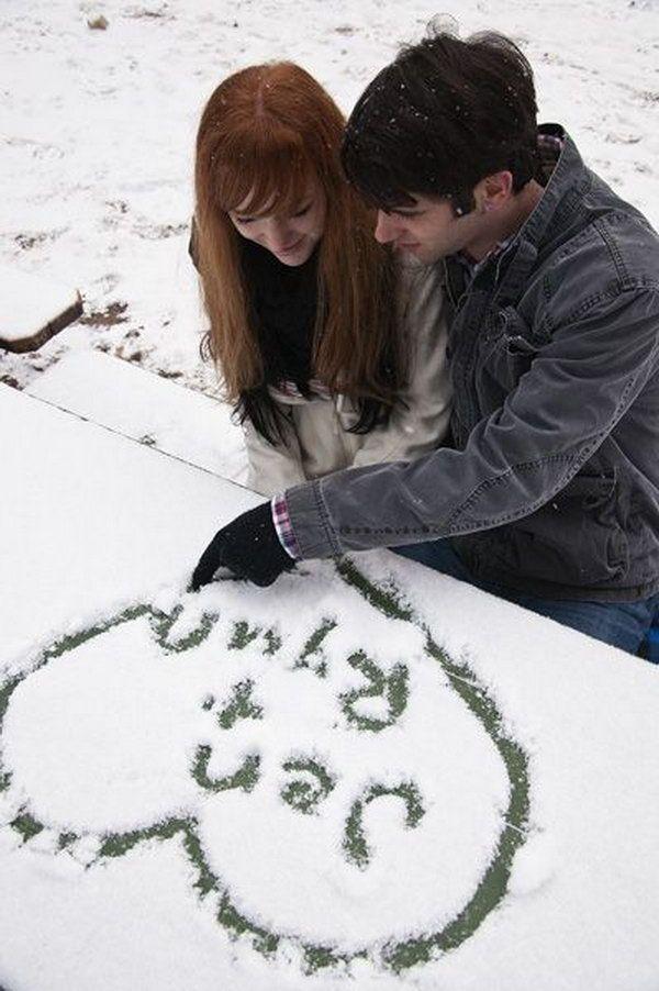 écrire dans la neige la date du mariage