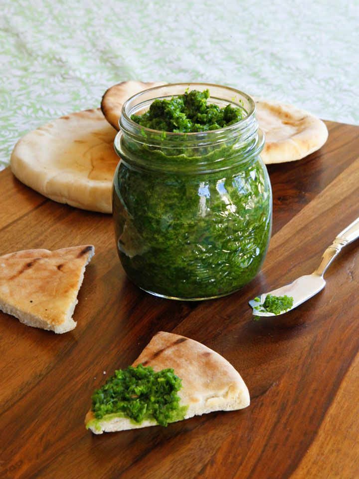 Recipe for Yemenite Schug - Fiery, herby green sauce with cilantro, parsley, jalapeños, garlic, spices and salt. Adds a spicy kick to all kinds of foods.