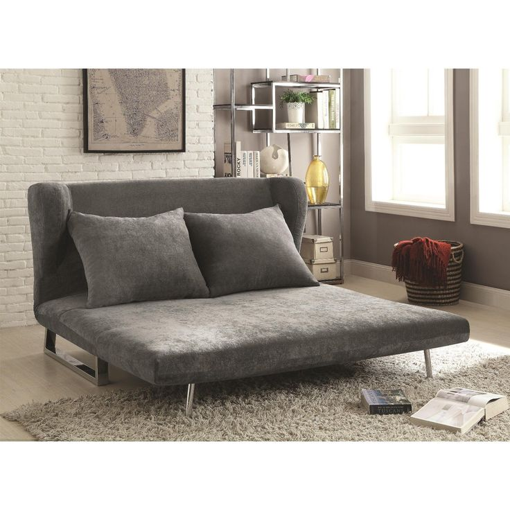 PERFECT FOR DORM ROOM GRAY VELVET QUEEN SOFA BED FUTON LIVING ROOM FURNITURE