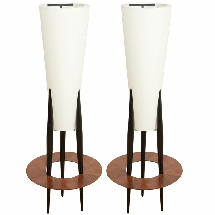 A Pair of French Wooden Floor Lamps by Rispal.