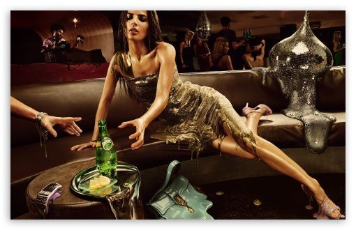 girl in club drink champagne