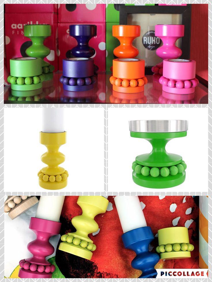 Näitä Aarikan kynttilänjalkoja kivoissa retroväreissä (keltainen, pinkki, vihreä, turkoosikin kuulemma on...). Ei tylsiä värejä! Värikkäitä ei tosin taida olla tällä hetkellä myynnissä muuten kuin ehkä outleteissa tai käytettyinä.