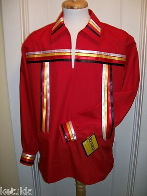 Native American Regalia Traditional Red Ribbon Shirt 4 Directions Size 2X | eBay