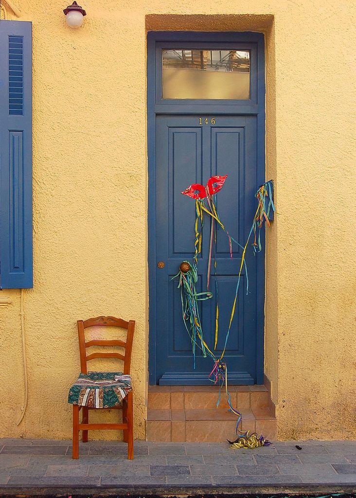 Door in Kalives on the Greek island of Crete_ Greece