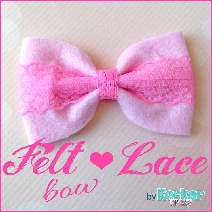 Sweet and shabby felt and lace handmade bow.  Two of our all-time favorite crafting materials combined into one bow {LOVE}!  Super-easy and free hair-bow instructions on the blog.