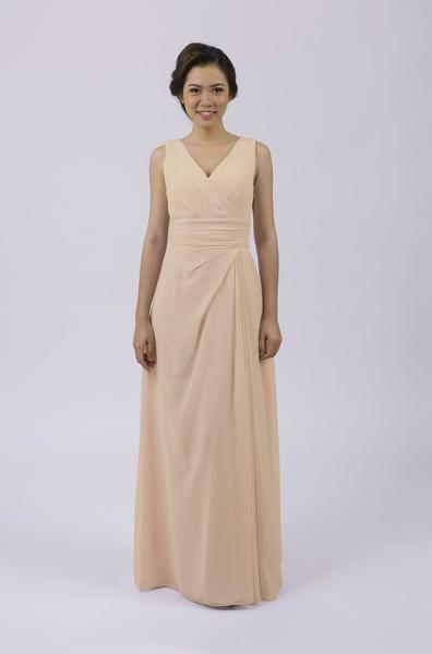 Long Classic Bridesmaid Dress    Bridesmaid dress | Champagne wedding | pale gold wedding | Champagne bridesmaid dress