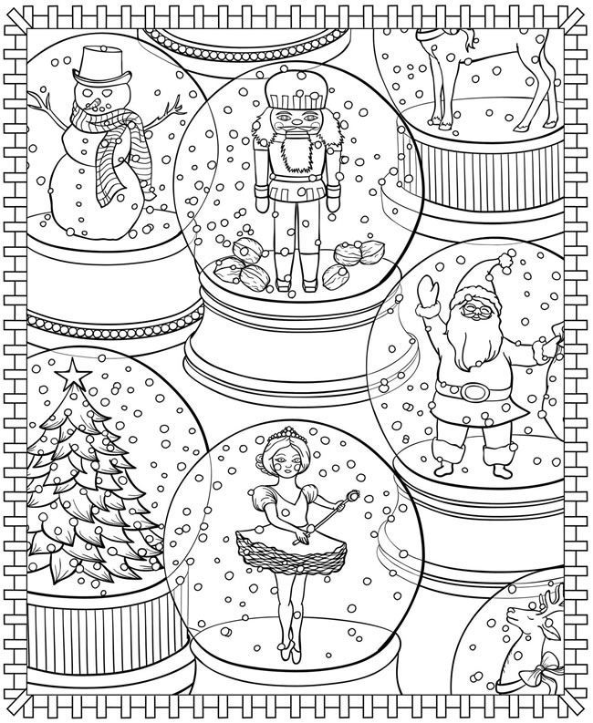 christmas snow globes coloring pages - photo#27