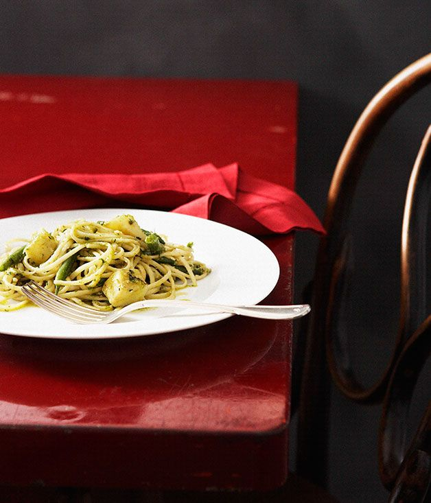 Trenette with pesto  Basil originated in Asia and Africa but it is present all over the Mediterranean, and found a habitat in Italy in the climate and soil of Liguria  #Potatoes #Main #Pasta #Italiano #Winter #Basil