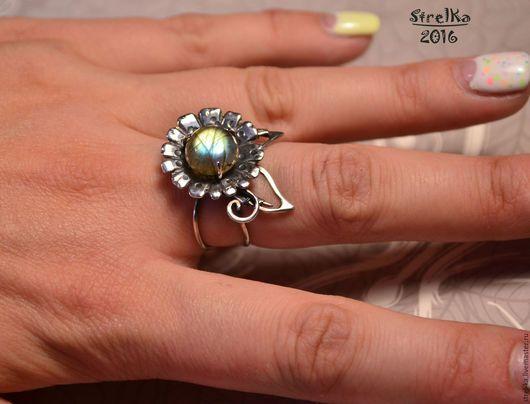 Кольца ручной работы. Кольцо Цветок Лабрадора. Strel-ka. Ярмарка Мастеров. Кольцо с камнем, Стрелка, цветок, серебро 925