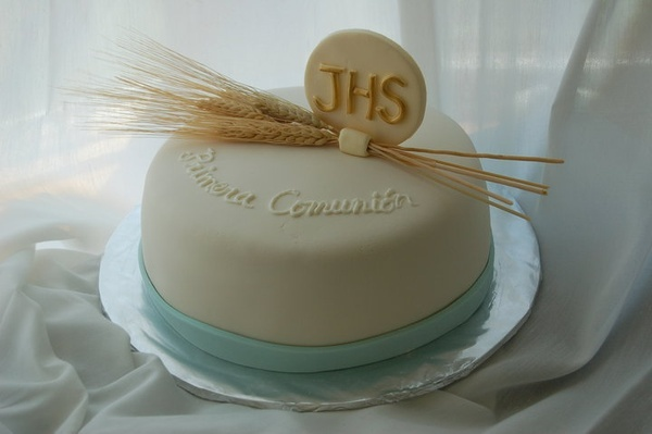 first communion cake--I really love this one but don't know if it will go with the rest of the decor