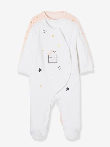 5e7974df75 Lote de 2 pijamas estampados de terciopelo automáticos delante bebé ...