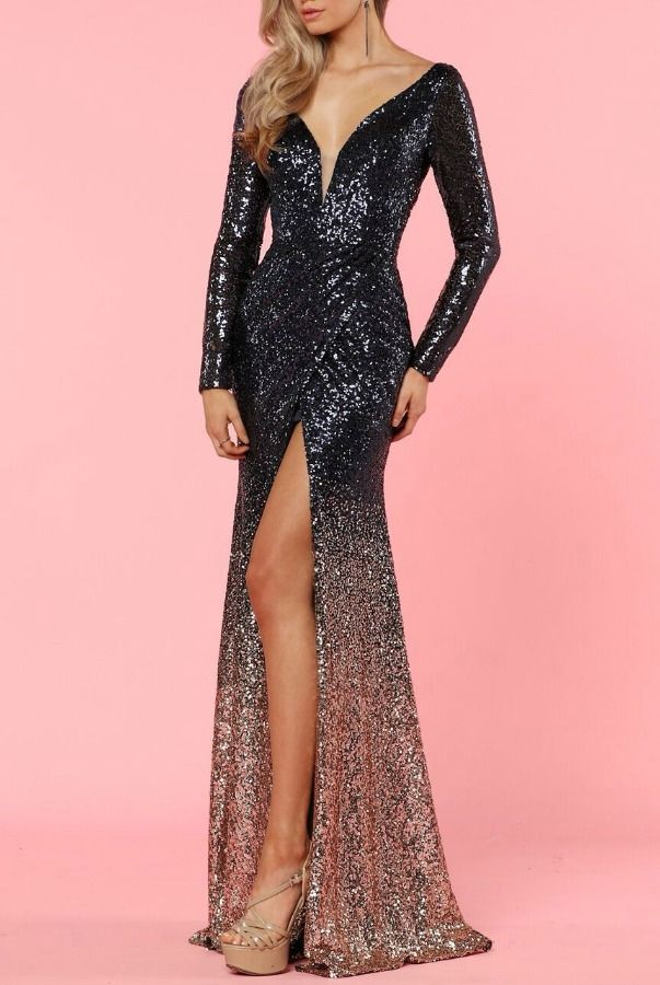 4b7f88c92ecf Zoey Grey Long Sleeve Sequin Beaded Navy Gold Ombre Gown | Poshare  Seriously show stopping sequins
