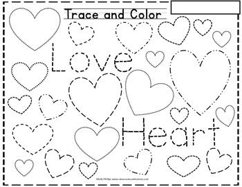 Valentine's Day - Perfect for little hands as they learn to write. This is a fun 'trace and color' Valentine themed skill sheet where students will trace the hearts in various shapes, and then also trace the words 'heart' and love'.It's a perfect little center activity or even for morning work.
