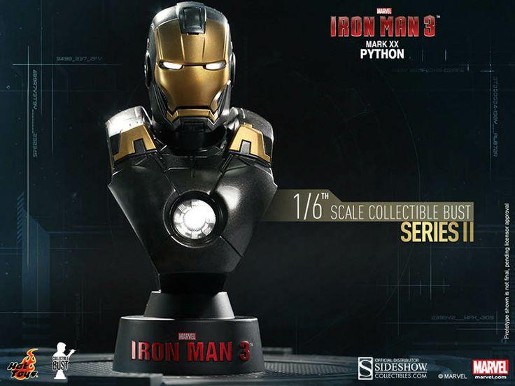 Busto Mark XX Python 11 cm. Iron Man 3. Serie 2. Sideshow Collectibles Espectacular busto para tu colección de la armadura Mark XX Python 11 cm visto en el popular film Iron Man 3, a escala 1/6, con luz y 100% oficial y licenciado.