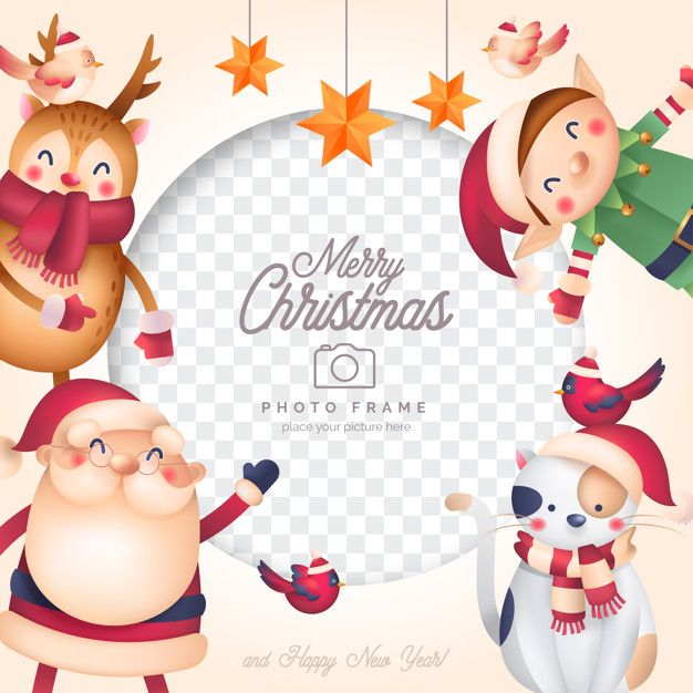 Funny Christmas Photo Frame With Santa A Free Vector Freepik Freevector Freeframe Freec Christmas Drawing Christmas Photo Frame Funny Christmas Photos