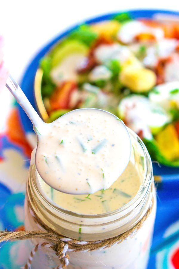 A Ladle Of Buttermilk Ranch Coming From A Mason Jar Full Of Dressing Buttermilk Ranch Dressing Smoked Corn On The Cob Recipe Food
