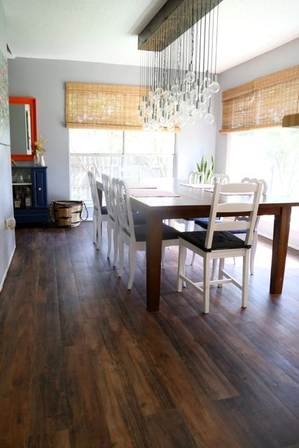 Vinyl (fake wood) flooring in the dining room | Love & Renovations