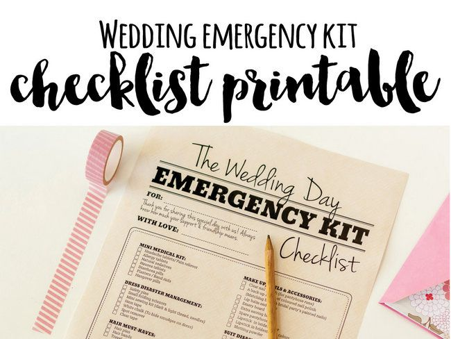 Wedding emergency kit must haves! Check out this printable checklist of items to include in your bridesmaid emergency kit in case of any wedding day mishaps.