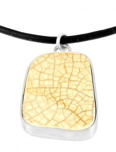 Cracked Rectangle pendant in found porcelain and sterling silver - $175