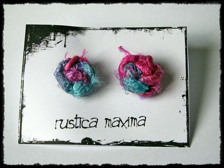 OOAK sari silk-knot earring - pink, turquoise https://www.facebook.com/rusticamaxima