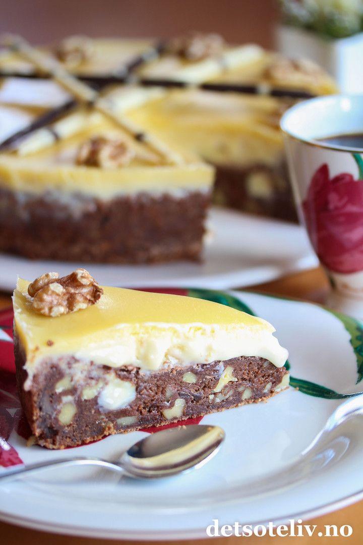 Browniekake med hvit sjokoladekrem og konjakk | Det søte liv