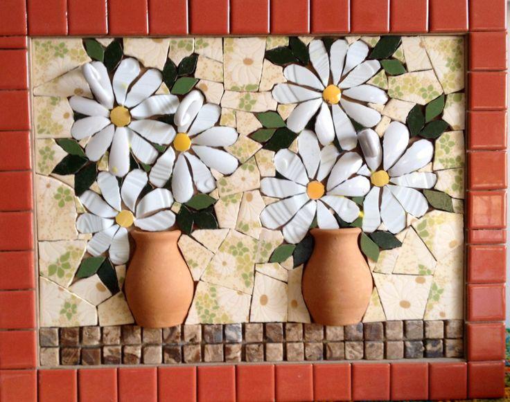 Mosaic flower in Picassiette, by Schandra Julia