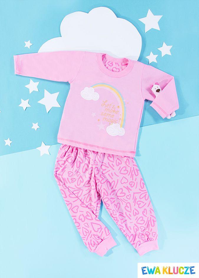 EWA KLUCZE, różowa piżamka z długim rękawem COMICS, ubranka dla dzieci, EWA KLUCZE, COMICS pijamas, baby clothes, Детская одежда
