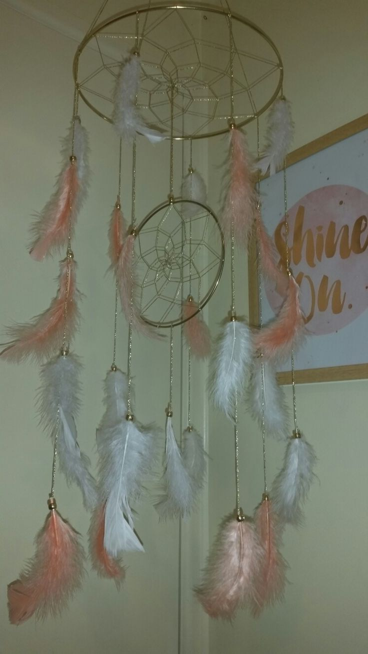 Krissy Jay's  Peach, White and Gold Dreamcatcher Mobile.  Facebook- Krissy Jay's.