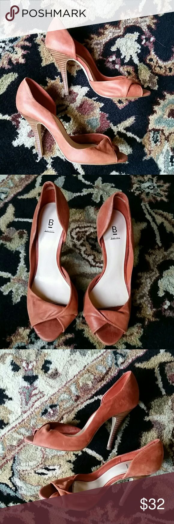 Distressed Soft Leather Burnt Orange High Heels Distressed, Soft Leather, Burnt Orange, Baker's High Heels Bakers Shoes Heels