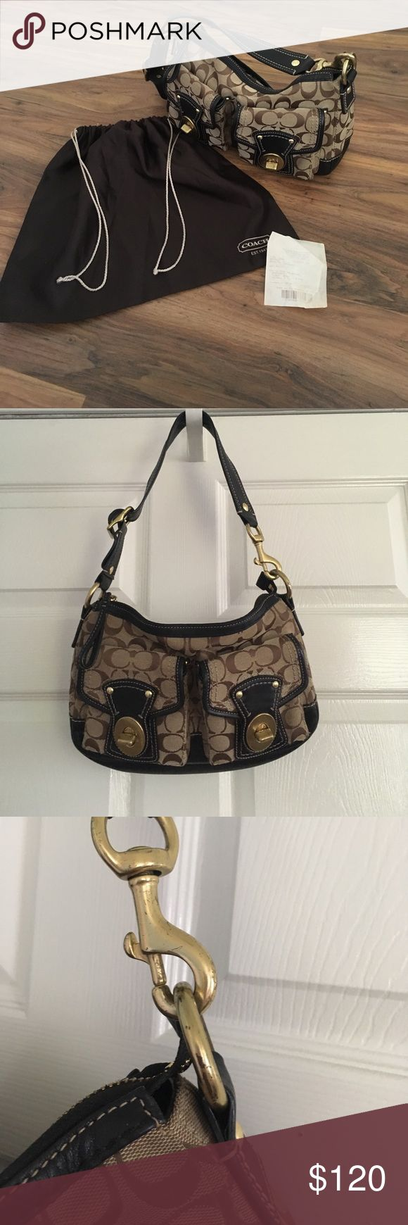 Coach Legacy Signature Small Shoulder Bag Authentic Coach Legacy Shoulder Bag with original dust bag and gift receipt. Great condition! There is some minor tarnishing on the hardware. Has two front pouches for storage, and a back zipper compartment. PRICE IS FIRM. Coach Bags Shoulder Bags