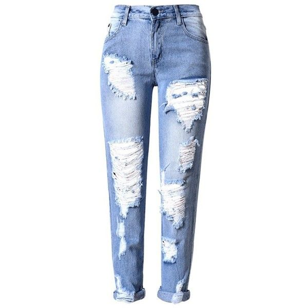 Tengo Women Ripped Distressed Denim Jeans featuring polyvore, women's fashion, clothing, jeans, bottoms, pants, destruction jeans, distressing jeans, ripped jeans, distressed jeans and blue jeans