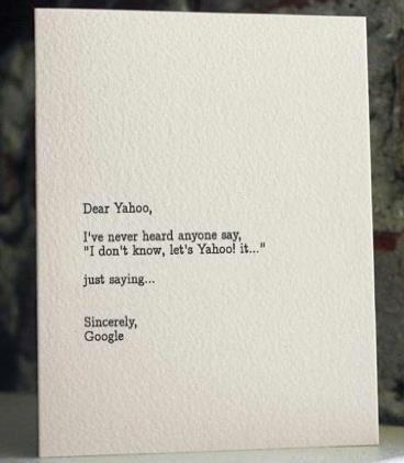 yahoo vs google: Giggle, Google, Funny Stuff, Humor, Funnies, Smile, Dear Yahoo