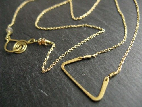 Minimal Geometric : silver brass copper jewellery - Hathor, geometric golden brass necklace, trapezoid pendant on delicate brass chain