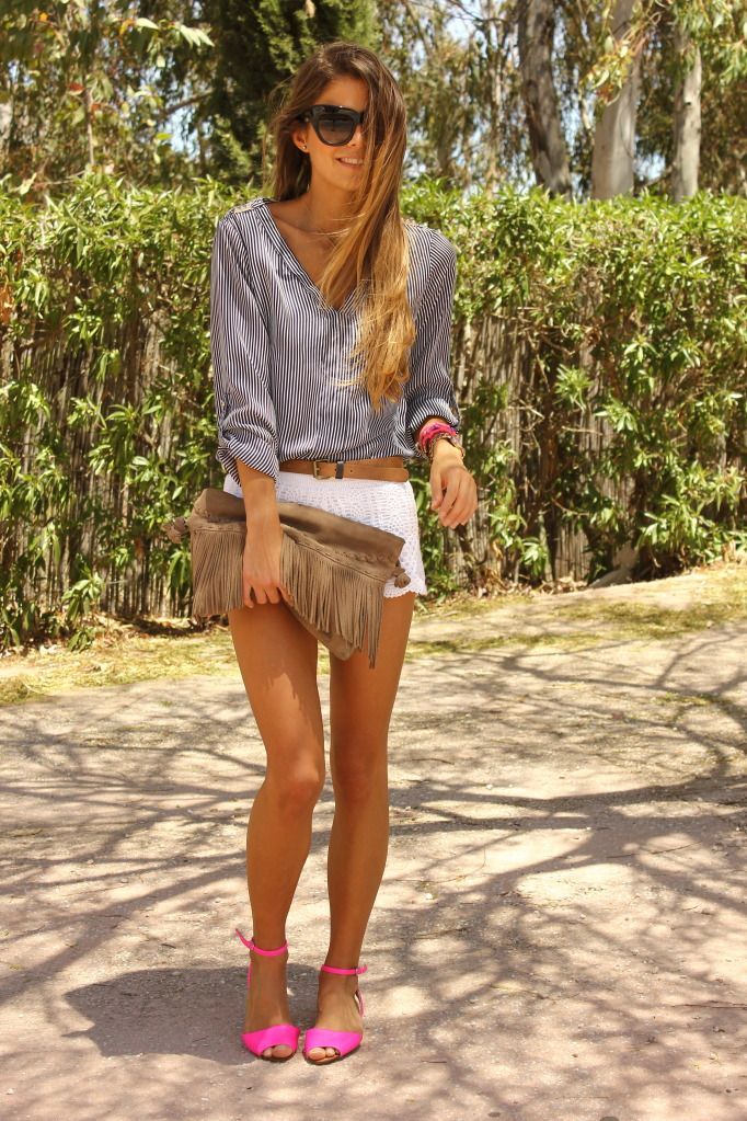 Fringe benefits: Short, Fashion, Style, Spring Summer, Summer Outfits, Hot Pink, Pink Shoes