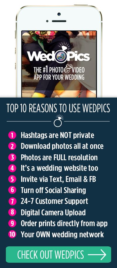 Your wedding guests will take a lot of photos. Ever wonder how you might see them all? WedPics is the FREE #1 Photo & Video sharing app for weddings! Available on iPhone, Android and Web (for those using digital cameras). All photos that are shared to your WedPics albums are free to download (in full resolution)!