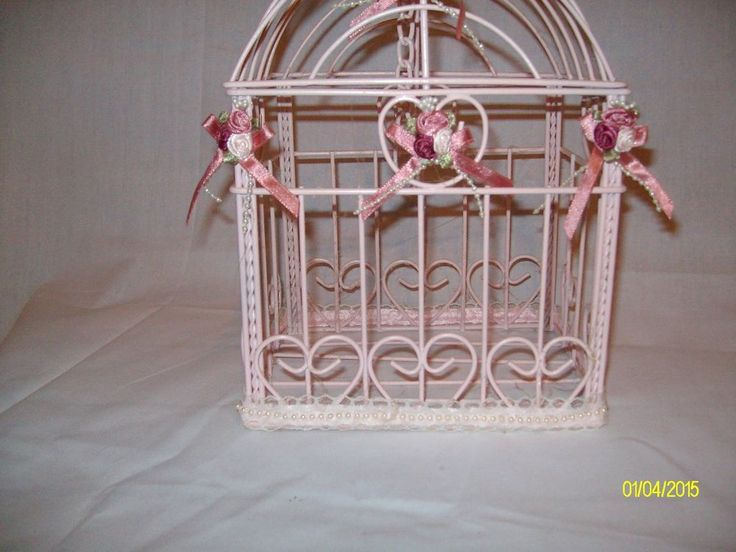 """Small Pink Wooden Bird Cage w/Wire """"Bars"""""""