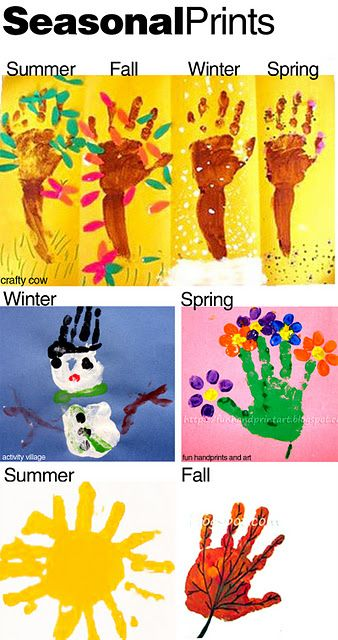 Seasons handprints - the leaf would be a great substitute for October on the Calendar handprints