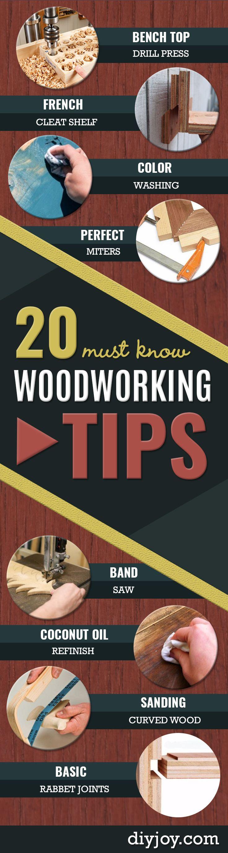 Круто Деревообрабатывающими советы - простой Деревообработка идеи, Деревообработка советы и хитрости, Деревообработка советы для новичков, базовое Руководство для деревообработки http://diyjoy.com/diy-woodworking-tips
