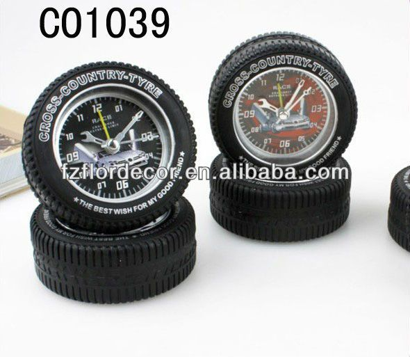 promotional alarm clock tyre alarm Clock tyre clock novel desktop clock analogue alarm clock plastic clock novel alarm clock