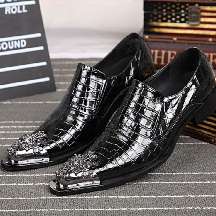 New Fashion 2016 Men Genuine Leather Shoes Pointed Toe Metal Tip Men's Formal Dress Shoes Evening Wedding Shoe Plus Size 38-46 alishoppbrasil