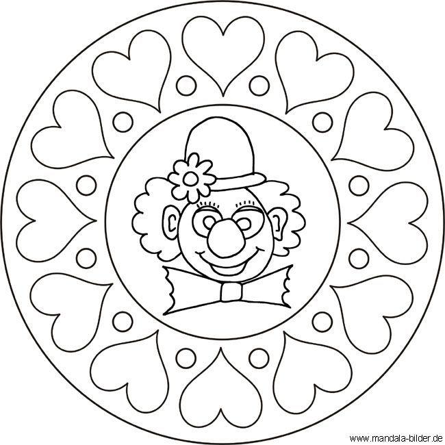 Mandala Clowngesicht Clown Mit Herzen Als Malvorlage Ausmalbilder Fasching Im Kindergarten Ausmalbilder Fasching