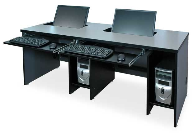 Beautiful Wide Screen Computer Desk With Plenty Of Storage For The Cpu And Other Items